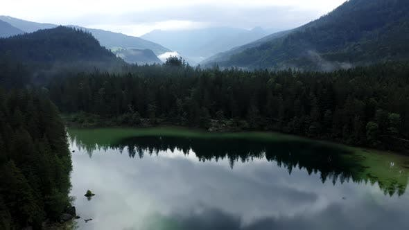 Thumbnail for Aerial View of Foggy Hintersee Lake. Ramsau, Berchtesgaden, Bavaria, Germany, Europe