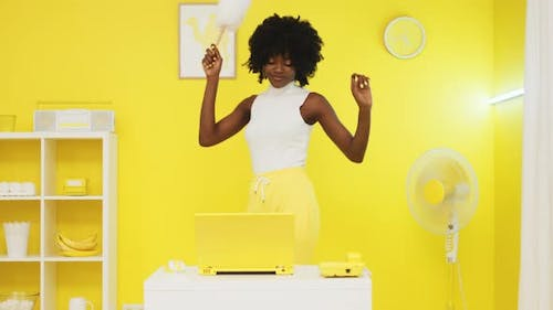 Black Lady Is Dancing With Dust Cleaner