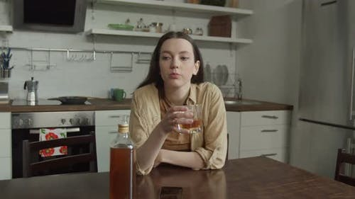Sad Woman Drinking Suffering From Cheating Husband
