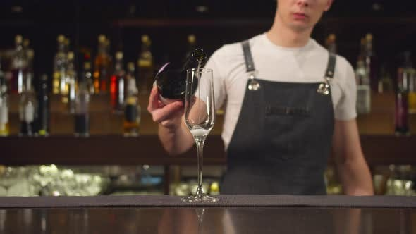 Thumbnail for Bartender Pours Champagne in Glass at the Bar