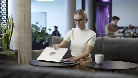 Female Entrepreneur Finishes Task Or Job
