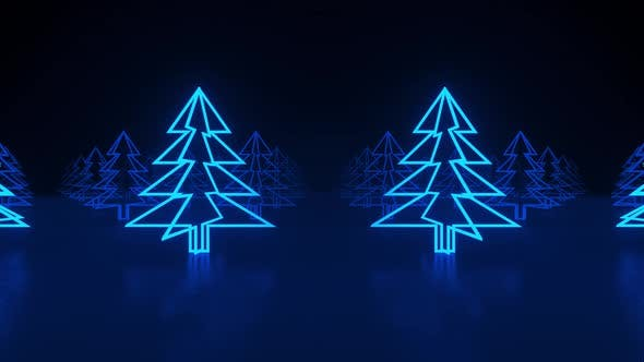 Christmas trees, blue neon glow icon on darkness black background