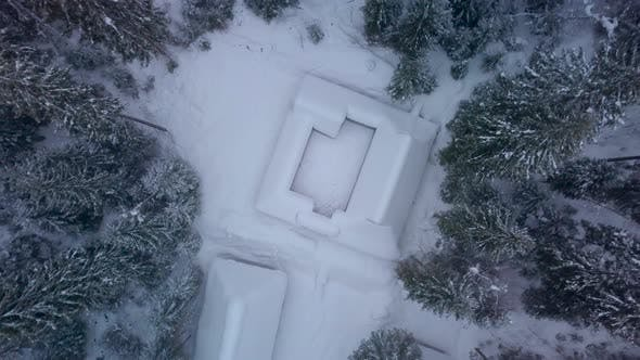Thumbnail for Aerial View of Wooden Houses and Winter Forest