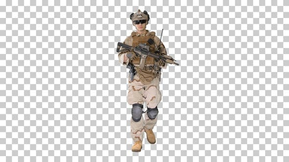 US Army soldier in combat uniform walking, Alpha Channel