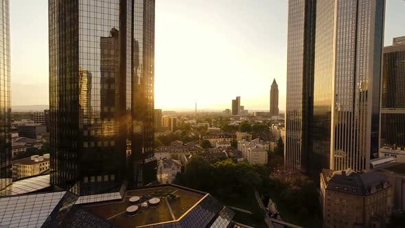 Thumbnail for Aerial View of Modern City Business District at Sunset Sky