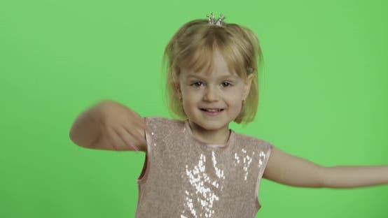 Thumbnail for Girl in Glossy Dress Dancing. Happy Four Years Old Child. Chroma Key