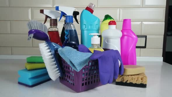 Thumbnail for Different Products and Items for Cleaning on the Floor in the Kitchen