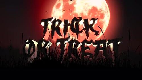 Animation Text Trick oder Treat und mystische Animation Halloween-Hintergrund mit dunklem Mond und Wolken