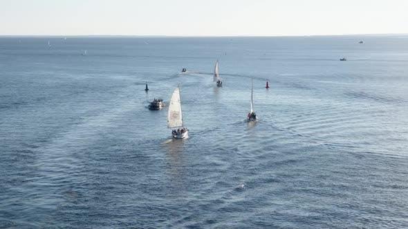 sailboats and yachts sail on the bay