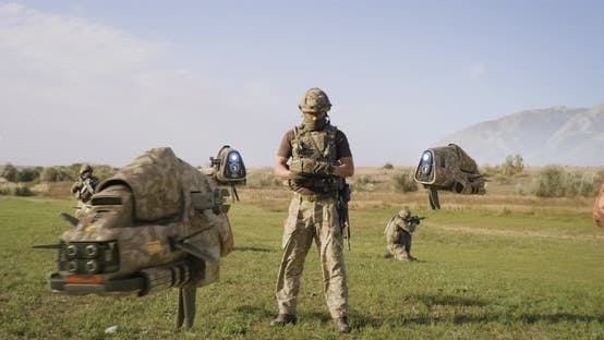 Thumbnail for Military Man Launching Drones in Field
