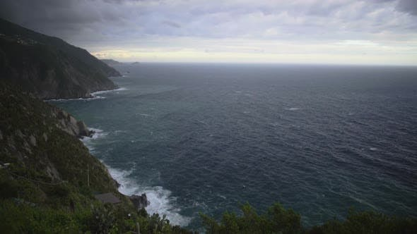 Thumbnail for Great Cliff Coastline Scenery of Cinque Terre, View on Mediterranean Sea