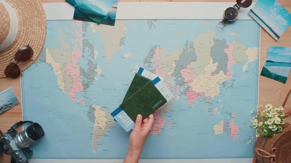 International Passports Laying On World Map