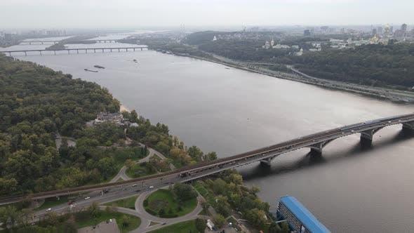 Thumbnail for Dnipro River Near Kyiv City, Ukraine Aerial View. Dnieper, Kiev