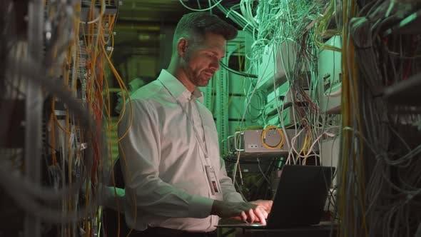 Data Center Worker Using Computer