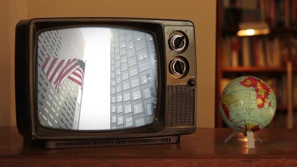 US Flag in Miami Downtown as Seen on Retro TV Set.