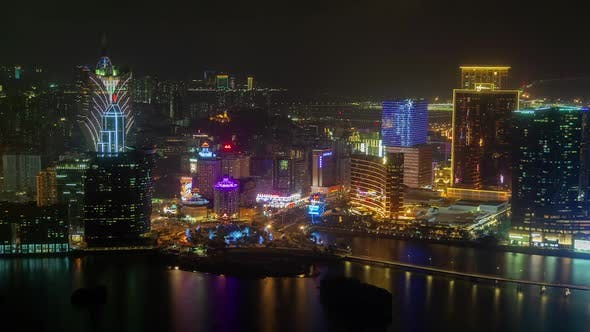 Cover Image for Macau with Cathedral Reflected in Water in China Timelapse