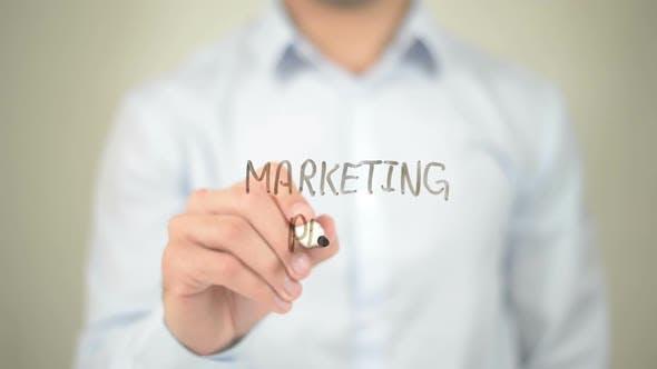Marketing Plan, Businessman Writing on Transparent Screen