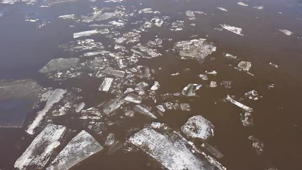 Thumbnail for The Ice Floes Floating on the River. The Ice Drift in Spring Time