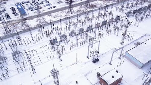 Top view of electric city substation