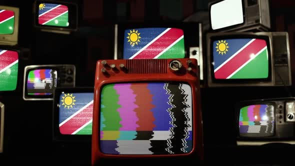 Flag of Namibia on Retro TV Stack.