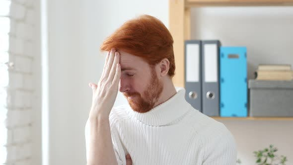Thumbnail for Headache, Frustrated Man with Red Hairs in Tension