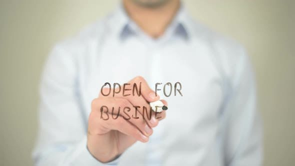 Thumbnail for Open for Business, Businessman Writing on Transparent Screen