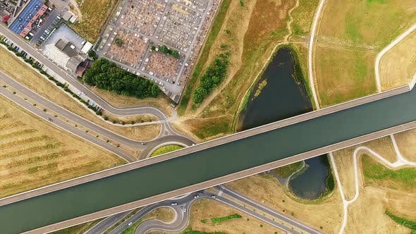 Thumbnail for Pont du sart aqueduct channel in Belgium from above