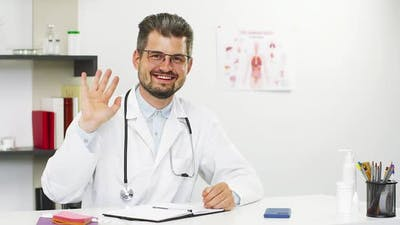 Doctor on Video Call Showing Bye Gesture