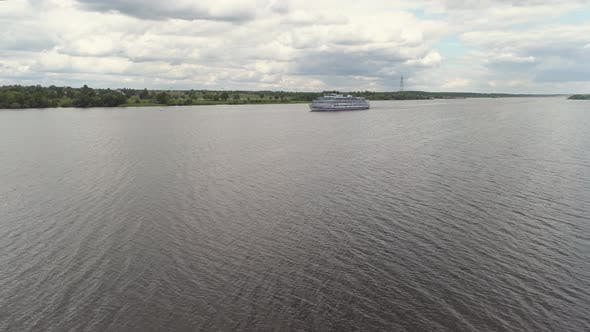 Thumbnail for Cruise Ship on the River Aerial View