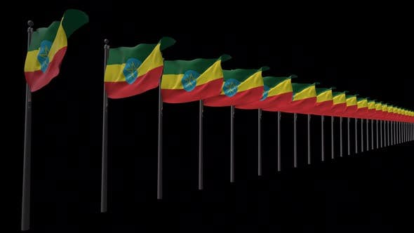 Row Of Ethiopia Flags With Alpha 2K