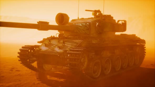 World War II Tank in Desert in Sand Storm