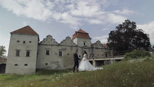 Thumbnail for Kaukasischer Bräutigam mit Braut in der Nähe des alten Schlosses. Hochzeitspaar. Fröhliches Brautpaar