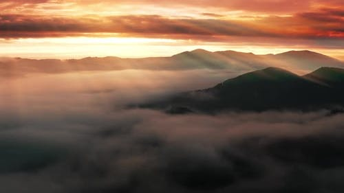 Mountains Cloud Fog Rays Morning Sunlight Abstract Sunny