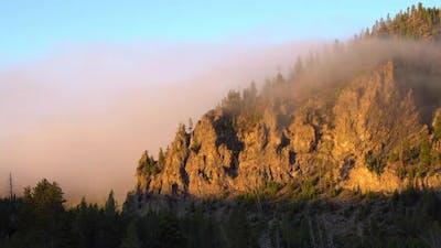 Yellowstone misty sunrise
