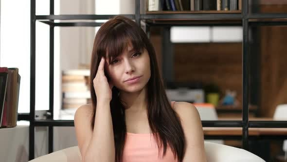 Cover Image for Headache, Frustrated Depressed Woman, Office