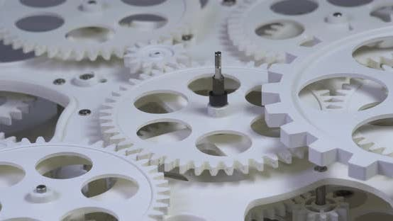 Thumbnail for Old White Color Gears Mechanism Rotation 4