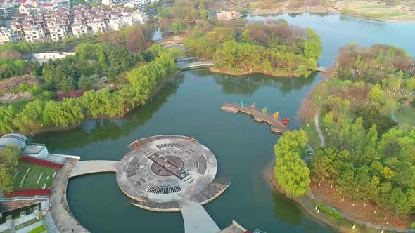 Thumbnail for Aerial View of Chinese Botanical Garden, Beautiful View of the Garden with Lake, Architecture
