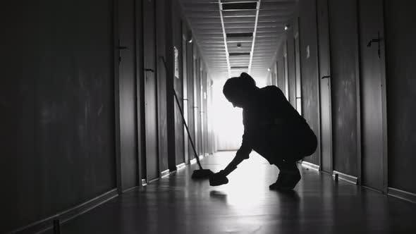 Thumbnail for Tired Female Cleaner Scrubbing Floor