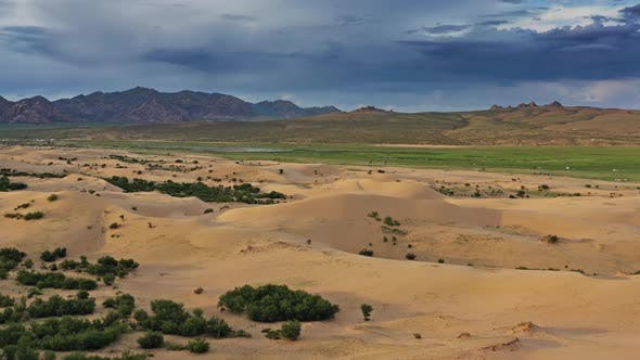 Cover Image for Sand Dunes in Desert at Sunset in Mongolia