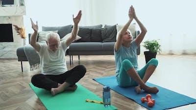 Old couple making exercises