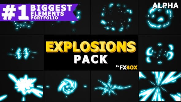 Thumbnail for 2D Explosion Elements | Motion Graphics Pack