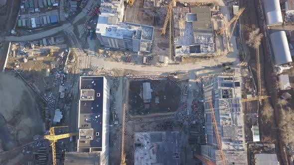 Thumbnail for Construction Site of a New Residential Complex. Flying Over the Construction Site
