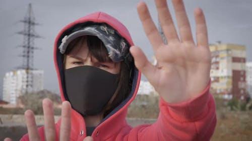 Stop gesture to coronavirus.