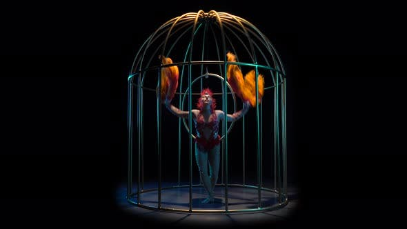 Thumbnail for Girl in a Cage Performs Different Movements with Her Hands She Is Like a Bird. Black Background