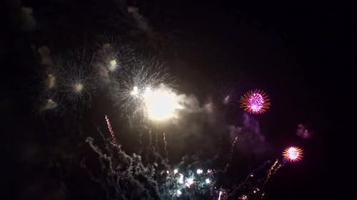 Colorful Firework display at night on sky background