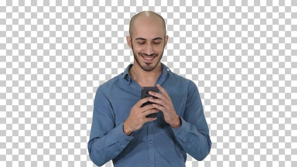 Thumbnail for Casual Man Using Cell Smart Phone Writing Message, Alpha Channel