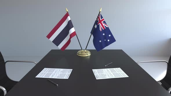 Thumbnail for Flags of Thailand and Australia on the Table