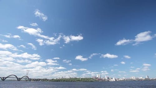 Dnepropetrovsk City with Skyline Over Dnipro River