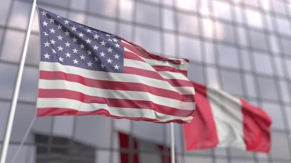 Waving Flags of the United States and Peru