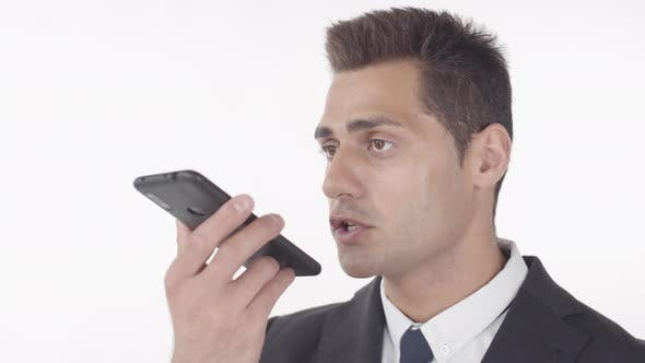 Man Recording Voice Message